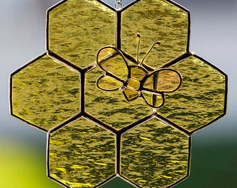 Stained glass honey bee and honeycomb suncatcher, glass bee, stain glass bumble bee, honey, beehive