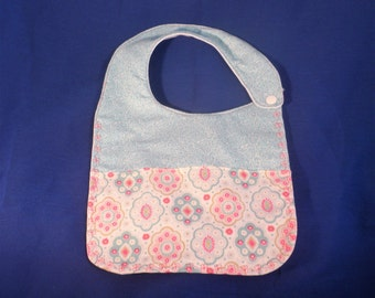 Waterproof Baby Girl Bib  - Gift Made and Ready to Ship - Teal n Pastel - 3 layers Cotton outer, Flannel inner layer &  PUL  backing