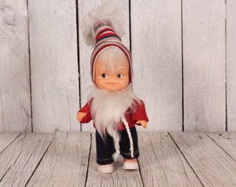 Dwarf toy - Vintage dwarf doll - Gnome - Gnome doll - Old gnome toy - Cotton dressed dwarf - White beard dwarf - Plastic gnome - Old dwarf