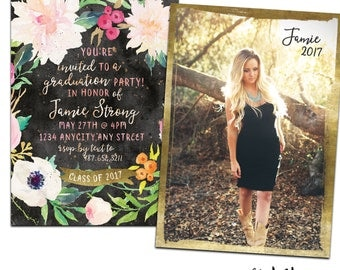 Gold and Black Graduation Announcement & Graduation Party Invitation - Customized for you! Printable or Printed with Envelopes. Boho Floral