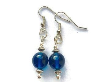 SALE 50% OFF Blue Glass Earrings, Beaded Earrings, Minimalist Earrings, Upcycled Earrings, Recycled Earrings, Recycled Jewelry