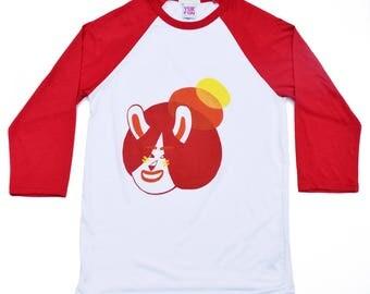 YUK FUN Bun Bunny Baseball T-shirt, rabbit tee, cute t-shirt, kawaii baseball t-shirt, screen printed tee, white, red, orange, yellow, fun.