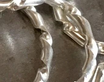 Twisted Silver Argentium Ring Ladies Gents Slim Stacker Size L Handmade