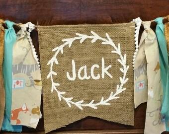 Custom Woodland Baby Shower Banner, Forest Garland, Woodland Animal Decor, Woodland Nursery, Personalized Banner, Personalized Baby Gift