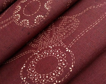 mahogany red brown  wool kimono fabric with kumihimo and spool pattern - by the yard