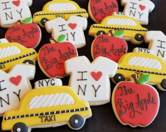 32 New York City Cookies /Taxi, Empire State Building, I Heart New York Shirt, Big Apple