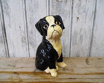 Dog puppy plaster figure from gypsum chalkware - handmade