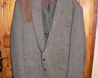 vintage 1960s  Norfolk jacket elbow patches UK46 herringbone