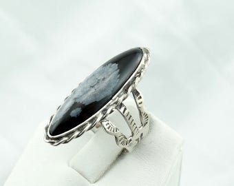 Unique Snowflake Obsidian Cabochon in a Vintage Sterling Silver Ring #SNOWFLAKE-SR2