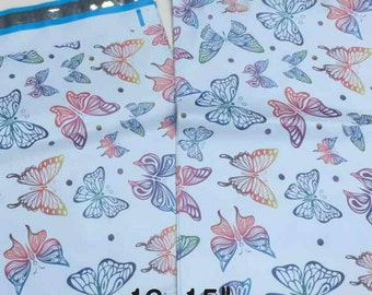 """100 -12x15.5"""" Poly Mailers in Designer Butterfly Gift Wrapping Fun, Self Sealing Envelopes as a light weight shipping envelope bag"""
