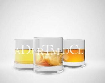 5 Monogram Scotch Glass, Groomsman Gift, Monogram Whiskey Glass, Etched Rock Glass, Personalized Scotch Glass, Etched Glass, Set of 5
