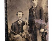 Genuine Vintage 1860s-'70s era Tin Type of Man with Fiddle or Violin or Viola -- Free Shipping