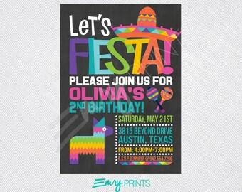 Fiesta Invitation / Chalkboard Fiesta Birthday Invitation / Colorful Fiesta Party / 1st Birthday Fiesta / Birthday Fiesta Printable
