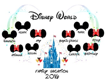 Disney World 'Family Vacation 2017/2018 PERSONALISED T-Shirt Transfer