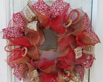 SALE Cowboy Wreath, Rodeo Wreath, Country Wreath, Deco Mesh Wreath, Mesh Wreath, Rustic Wreath, Ribbon Wreath, Boot Wreath