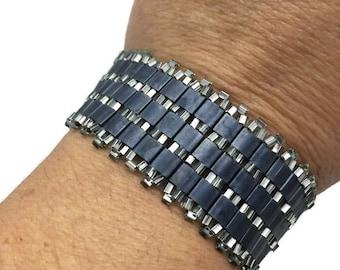 Dark Bohemian Beaded Bracelet~Tila Bracelet~Handmade Bacelet~Unique Bracelet~7.25 Inches~Beaded Bracelet for Women~Handcrafted