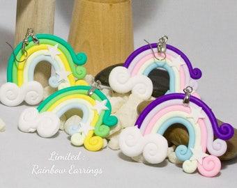 Rainbow Cloud and Stars Earrings
