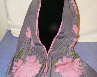 Vintage Vera Pink Gray Floral Polyester Long Scarf