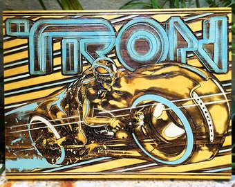 Tron Legacy Movie, Wood Wall Art, Unique Wooden Poster for Theater Room, Laser Engraving Art on Wood, Alternative Geek Art on Wood