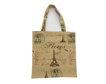 Tote bag/Book/School/Grocery/Knitting/Shopping bags perfect gift Paris France Style Effie tower Cotton Canvas made in Britain