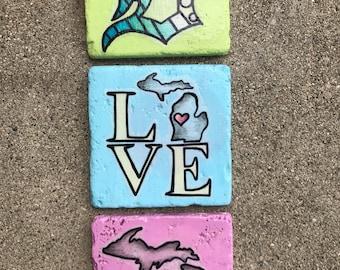 Detroit inspired coaster tiles