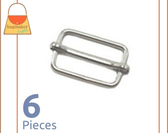 "1.25 Inch Movable Bar Purse Strap Slides, Nickel Finish, 6 Pieces, Handbag Purse Bag Hardware Supplies, 1-1/4"", BKS-AA009"