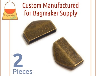 "1 Inch Strap / Zipper Ends, Antique Brass Finish, 2 Piece Pack, Purse Handbag Hardware Supplies, One Inch, 1"" Tips, STR-AA011"