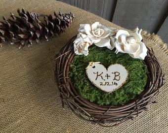 Rustic ring bearer nest/ ring bearer/ ring holder for wedding rings/ wedding rings/ wedding ring holder/ rustic wedding/ woodland