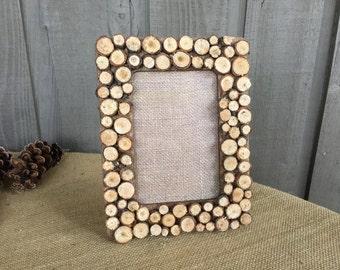 Rustic frame/ woodland frame/ wood slices/ frame/ rustic woodland frame/ handcrafted frame/ unique frame/ rustic home decor/ woodland decor