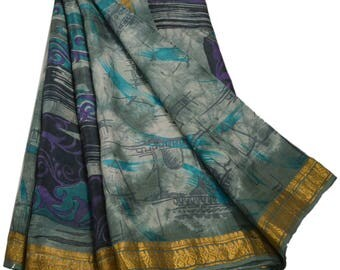 KK Printed Saree Pure Silk Craft Grey Fabric Zari Border Sari