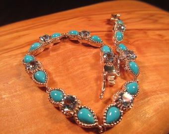 Cool Tribal Sterling Silver Turquoise Pale Blue Gemstone Bracelet