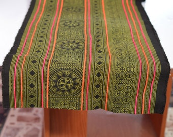 1YD Vintage Hmong textiles embroidered batik fabric cotton handmade table runner#47