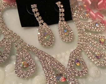 Vintage Necklace for the Bride, Prom, Graduation, Necklace with Rainbow Crystal Rhinestones and Matching Dangling Earrings