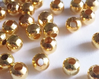 100pcs Gold Plated Beads 5mm - Plain Round Ball Metal Jewelry Findings Supplies - B00870