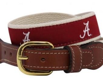 University of Alabama web Leather Belt