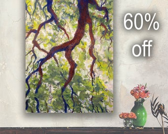 "Tree Drip Original Art 40"" Acrylic Painting on Canvas Large Wall Art"
