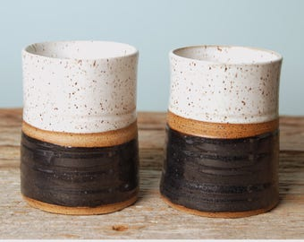 Beautiful Black and White Handmade Pottery Tumbler Set