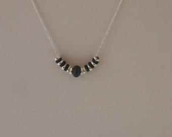 Sterling Silver Chain Necklace  With Oxidized Sterling Silver  (Black)