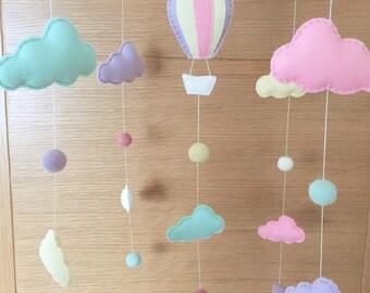 Hot Air Balloon Clouds Cot Mobile, Hot Air Balloon Baby Musical Mobile, Baby Mobile, Cloud Nursery Mobile, Pastel Nursery,Musical Cot Mobile