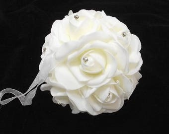 15cm IVORY Rose Pomander Kissing Ball with Crystal Diamante, For Bouquet, Bridesmaid, Flowergirl, Pew, Aisle, Table Centrepiece