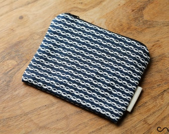 12cm Handmade Make up / Coin Purse / Change purse /Zipper Pouch Card Wallet Gift Navy & White Chain Fabric