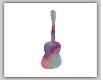 Guitar, Music, Musical, Instrument, Watercolor, Water color, Print, Art, Prints, Wall art, Guitar Picture, Pictures, Guitar Art, Printable