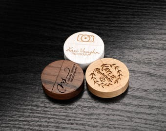 Set of 25 Wooden 128MB Round 2.0 USB Flash Drive- Personalized Custom Wooden Round Body USB Flash Drive - Laser Engrave your own design!