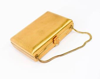 50s Volupte Gold Box Purse | Belt Buckle Clasp