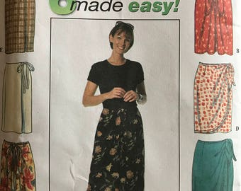 Simplicity 7525 - 6 Easy to Sew Wrap and Mock Wrap Skirts - Size 12 14 16
