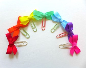 RAINBOW Bow planner clips. Paper clips. Page markers. Bow bookmarks. Planner paper clips. The happy planner accessories. Bible journaling.