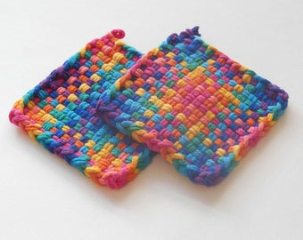 Two woven potholders or two extra large coasters, pink, orange, yellow, green, blue, purple, violet, and retro home decor, all cotton