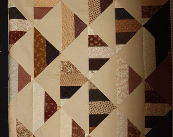 Unfinished Quilt Top, Earthtone Quilt Top, 42x58 inch Quilt Top