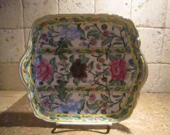 Asian Bowl, Square, Dish With Yellow Stripes & Flowers, Handled Dish