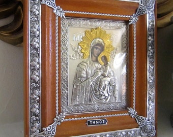 Greek Traditional Byzantine Art Orthodox Silver tone Icon , Virgin Mary & Jesus, Madonna and Child, Framed Religious Icon,